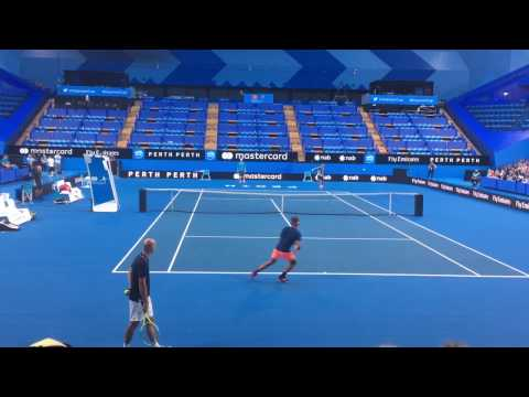 Roger Federer Hopman Cup 2017 Open Practice - Court Level
