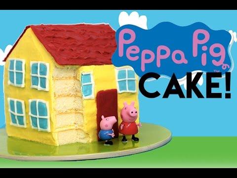 Peppa Pig CAKE   How to Make a Peppa Pig House Cake   My Cupcake Addiction