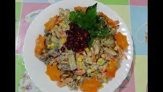 Рецепт салата из куриной жаренной печени с огурцами и морковью