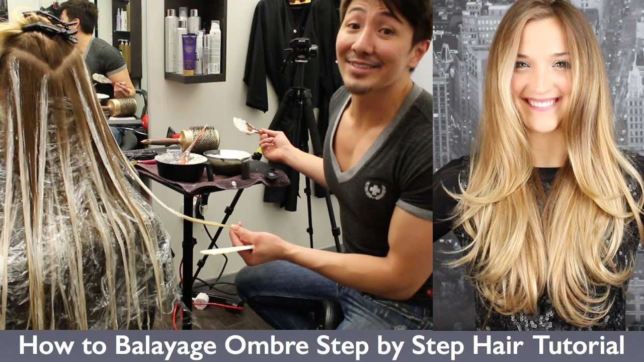 How to Balayage Ombre Step by Step Hair Painting - YouTube