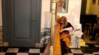 Harpist Regina Ederveen plays Somewhere over the rainbow and raindrops keep falling