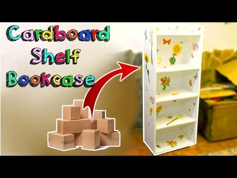 DIY CRAFTS AMAZING SHELF BOOKCASE WITH CARDBOARD BOXES RECYCLED