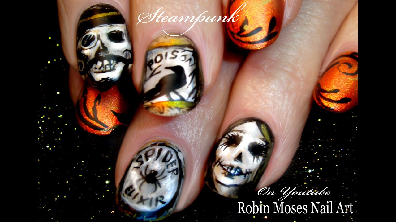 Diy halloween steampunk nails skulls and crows nail art design diy halloween steampunk nails skulls and crows nail art design tutorial youtube solutioingenieria Image collections