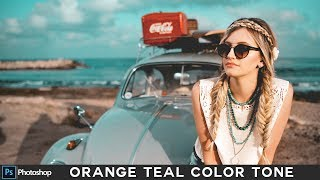 Photoshop Tutorial and Action : Orange and Teal Color Grading Effect - Cinematic Fashion Tone Look