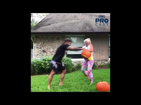 Platinum Mike Perry reciting poem/rap for Santiago Ponzinibbio + girlfriend helps him smash pumpkins