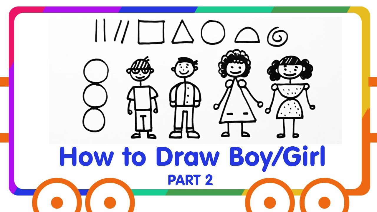 How To Draw Girl Boy With Basic Shapes
