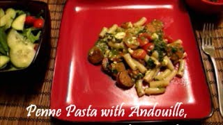 Penne Pasta With Andouille, Pesto, Spinach And Feta