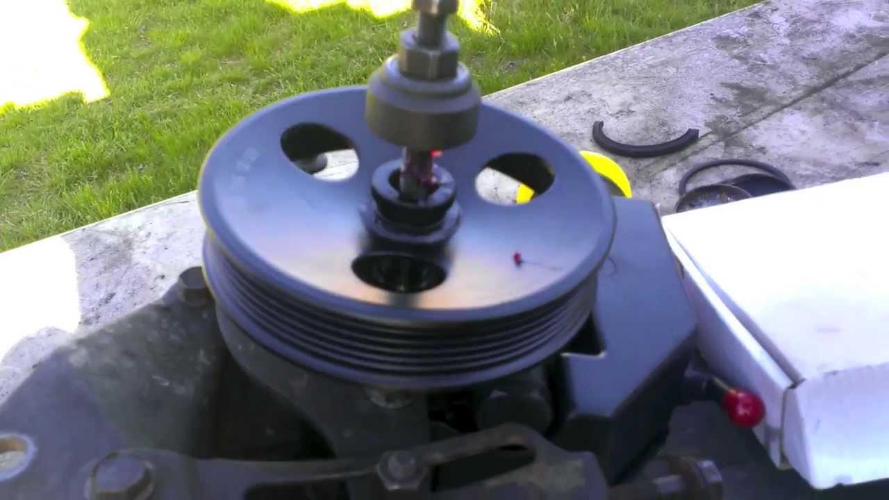 89 Cherokee Power Steering Pump Pulley Install Youtube