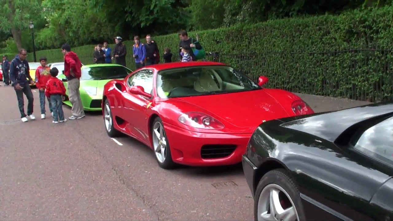 Ferrari And Lamborghini London Meet 5 Regents Park Walkaround Revs And Driving Youtube