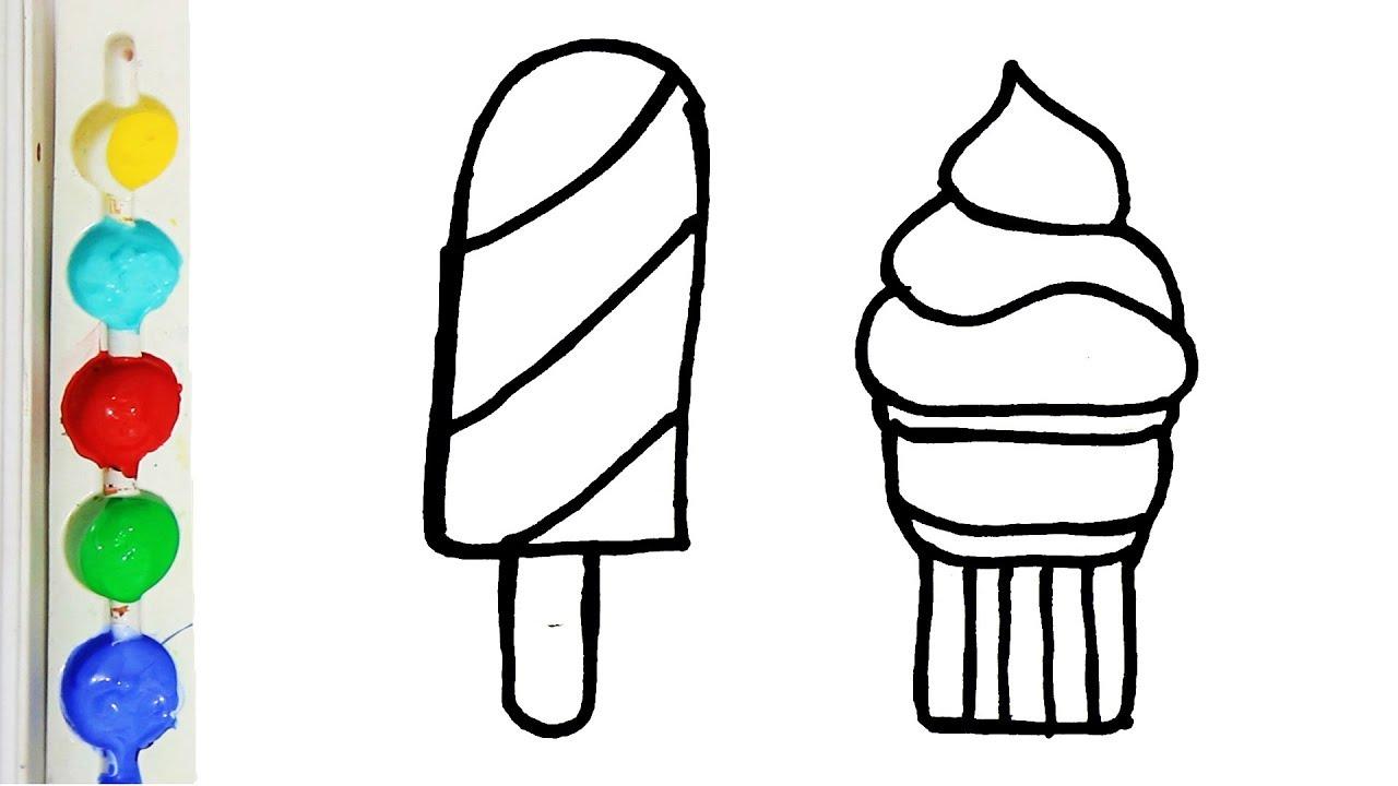 Menggambar Dan Mewarnai Ice Cream Untuk Anak Glitter Ice Cream Coloring Page For Kids