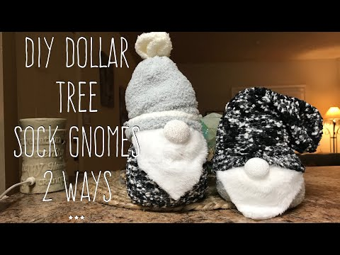 DIY Dollar Tree Sock Gnome 2 Ways