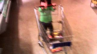 Hana - 2 Years Old - Pushing the Shopping Cart At Vons Super Market