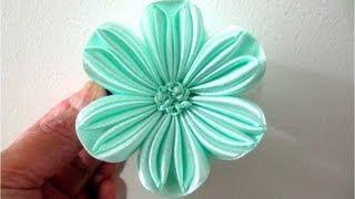 Repeat youtube video Moños en cintas  para el cabello flor de seis pétalos calados