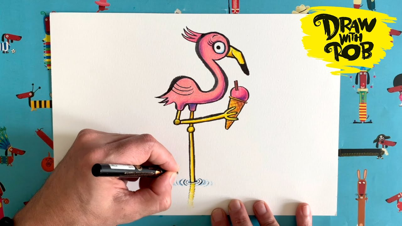 #DrawWithRob 33 Flamingo