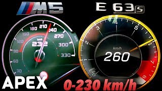 2018 BMW M5 vs. Mercedes E63 S AMG - Acceleration Sound 0-100, 0-230 km/h | APEX