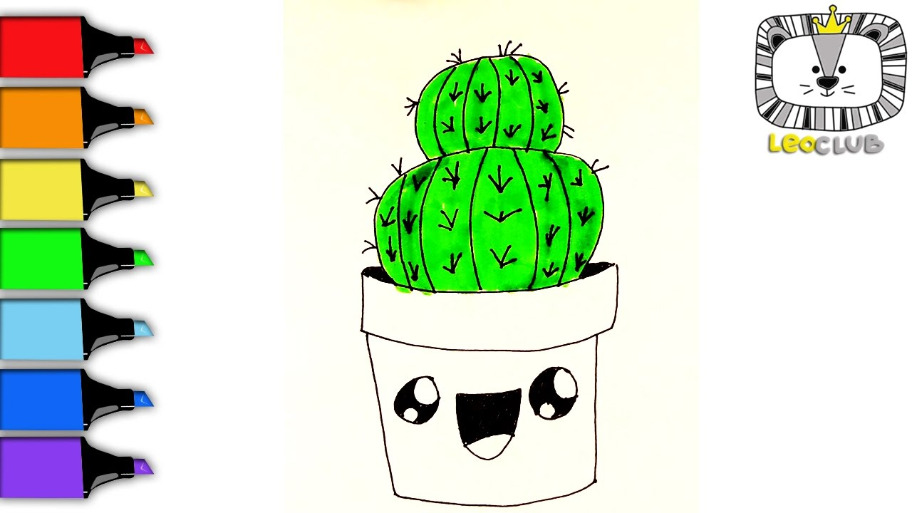 how to draw cactus learning coloring pages for kids leoclub