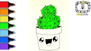 How to Draw Cactus.  Learning Coloring Pages for Kids.  LEOCLUB
