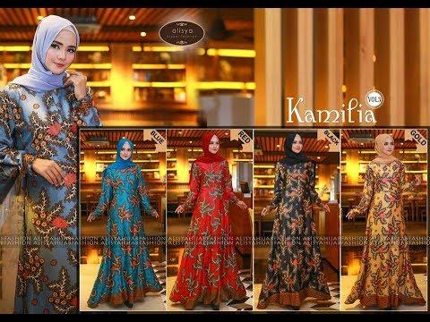 Model Gamis Batik Modern Cantik Elegant Edisi Kamilia Terbaru 2017
