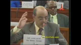 Prime Minister Meles Zenawi making fun with his own hair