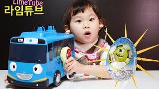거대 꼬마버스 타요가 아파요!! 라임 의사선생님 고쳐주세요!! 서프라이즈 에그를 먹고 배탈난 타요 캐리어 자동차 장난감! LimeTube & Toys 라임튜브의 병원놀이