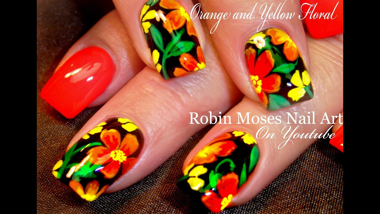 Diy Hot Summer Nails Orange Flower Nail Art Design Tutorial Youtube