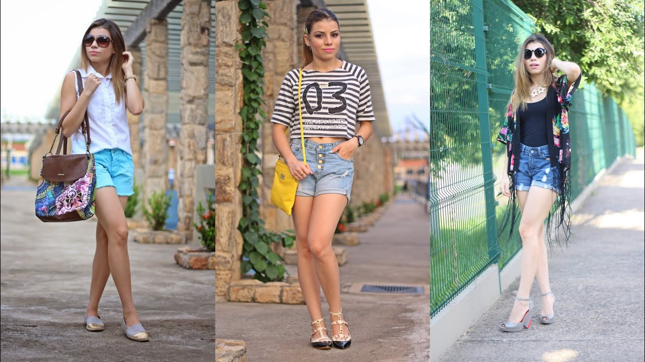 3 Looks Casuais com Short Jeans | Paloma Soares - YouTube
