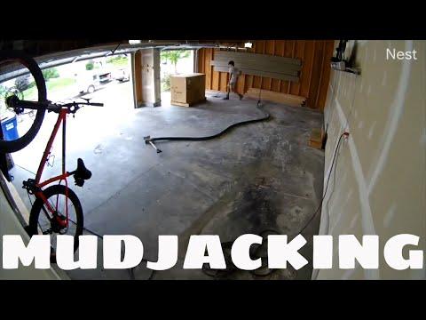 3 Hour MudJacking Job - Time Lapsed To 1 Min 30 Seconds - Sunken Garage Floor - Concrete Leveling
