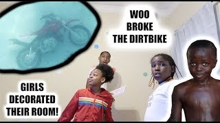 WOO DROVE THE DIRT BIKE INTO THE POOL & THE GIRLS REDECORATED THEIR ROOM!