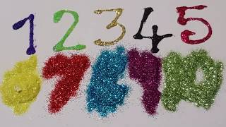 Learn numbers glitter painting 1-20 for kids and glitter tube