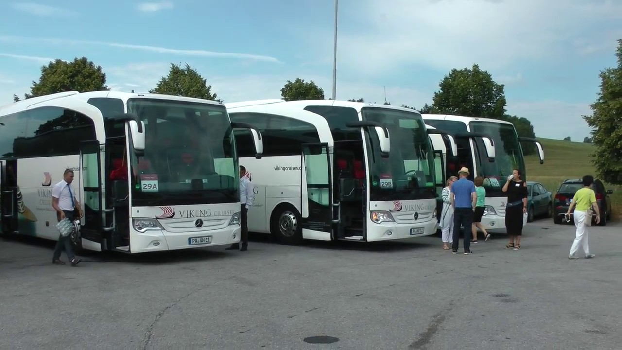4 viking cruises mercedes tour buses at czech gas station for Mercedes benz tour bus