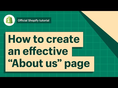 How To Create An Effective About Us Page || Shopify Help Center