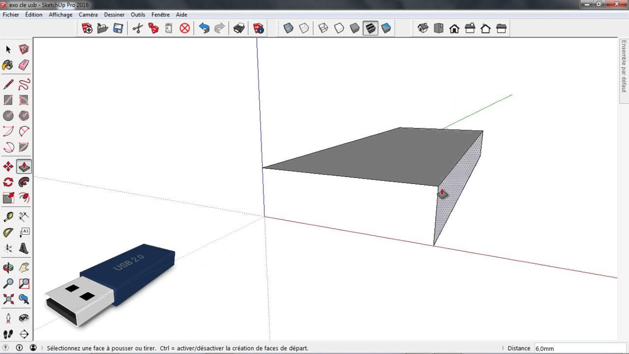 Célèbre Tuto Sketchup - Apprendre à modéliser : une clé Usb - YouTube GF97