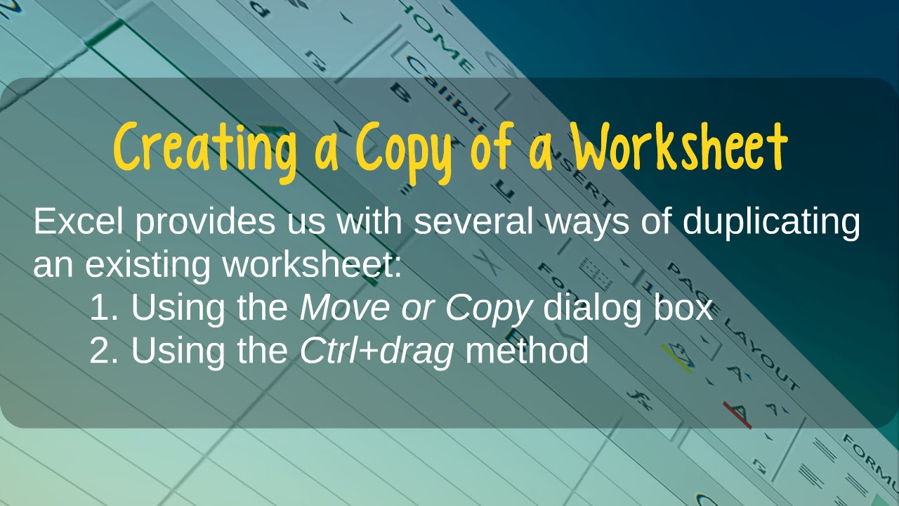 How to Create a Copy of a Worksheet in Microsoft Excel - YouTube