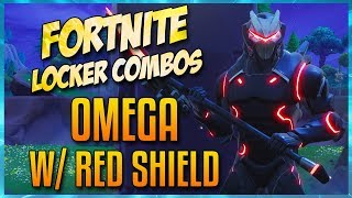 FORTNITE LOCKER COMBOS: CRIMSON OMEGA! RED SHIELD | TERMINUS | ONSLAUGHT | GLITCH IN THE SYSTEM!