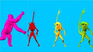 Funny colorful alien dance and funny pink King Kong dance Free Blue screen animation