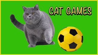 🛎 Cat Games ~ Colorful Soccer Balls Rolling across Screen [Great Game, Fun Video for Cats & Kittens]