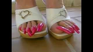 Repeat youtube video Long toenails in pink (made to dominate)