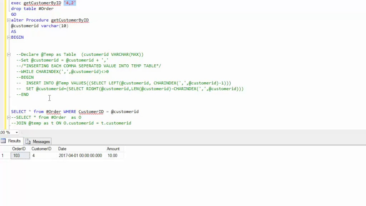 SQL SERVER sql where in parameter stored procedure