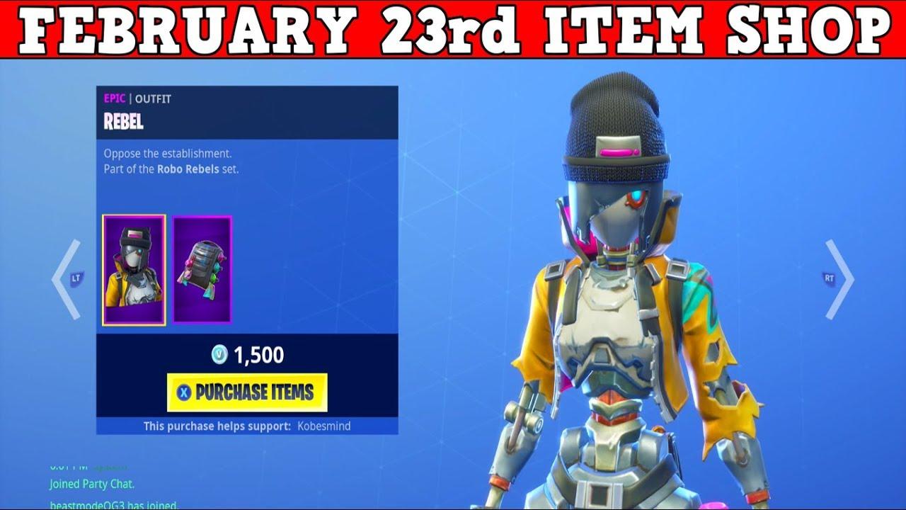 Fortnite Item Shop February 23rd New Rebel Revolt Skins