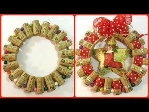 C mo hacer un adorno o base con corchos how to make a - Como hacer adorno de navidad ...