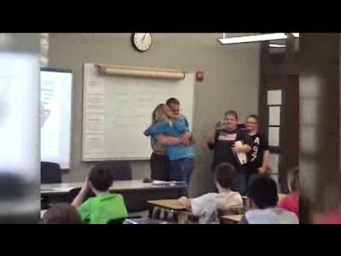 West Bend Marine surprises his daughter in class