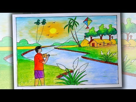 Download How To Draw Kite Flying Village Scenery Step By Step Very