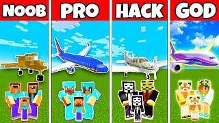Minecraft: FAMILY PLANE BUILD CHALLENGE - NOOB vs PRO vs HACKER vs GOD in Minecraft Animation