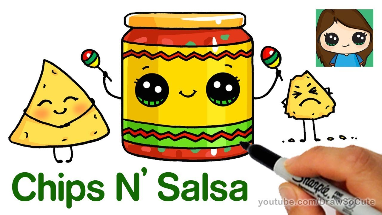 How to Draw Chips and Salsa Easy | Cute Snack Food - YouTube