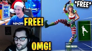 Streamers React to *FREE* NEW Take The Elf Emote! | Fortnite Highlights & Funny Moments