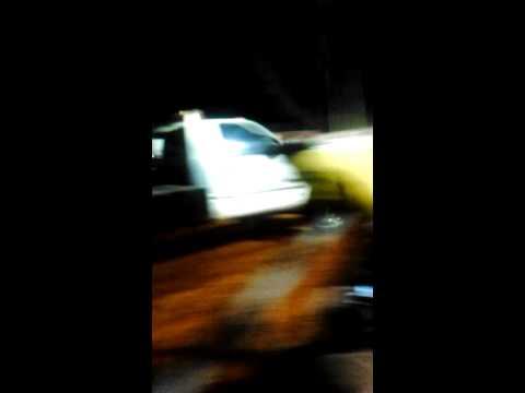 Diesel Dodge truck pulling sled