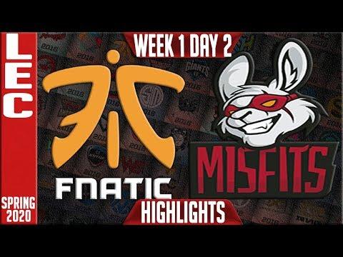 FNC vs MSF Highlights | LEC Spring 2020 W1D2 | Fnatic vs Misfits Gaming