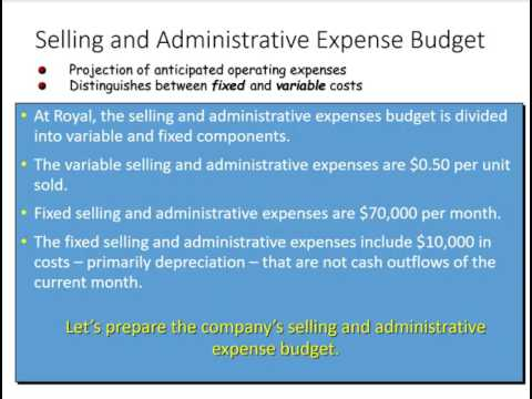 preparing a selling an administrative expense budget