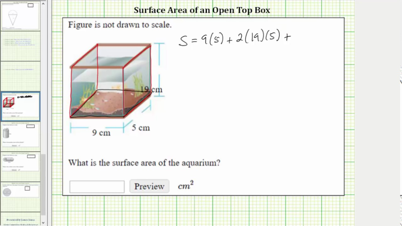 Find The Surface Area Of An Open Top Box Youtube