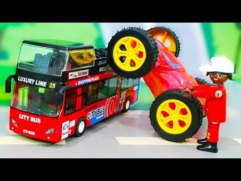 Мультик про машинки. Автобус и дети застряли в горах - Полицейские спасатели. Сборник мультфильмов